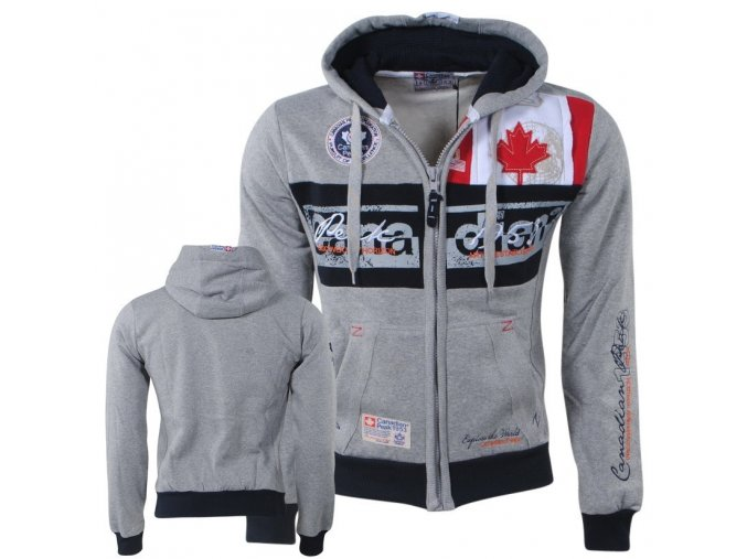 bv 2156 canadian peak trendy heren vest capuchon face grijs moda italia fashion 1