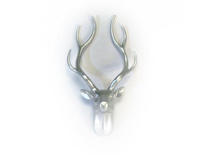 Trofej nástěnná stříbrná - jelení hlava - design