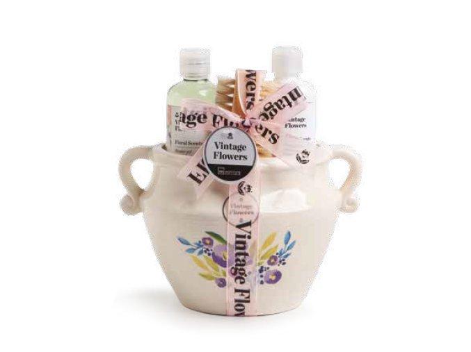 IDC Institute Vintage Flowers Jar sprchový gel + tělové mléko + dřevěný kartáč