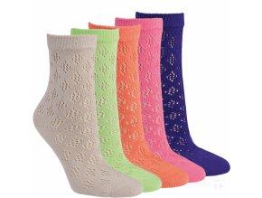 Dámské bavlněné krajkové ponožky RS 3 páry