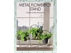 Kovové stojany s květináči 3ks