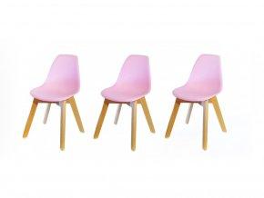 Dětská židle design - set 3ks - růžová